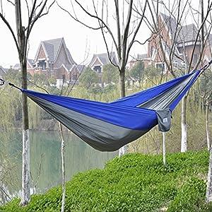OuterEQ Portable Nylon Fabric Travel Camping Hammock Blue/grey