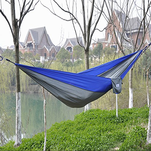 OuterEQ Portable Nylon Fabric Travel Camping Hammock Blue/grey