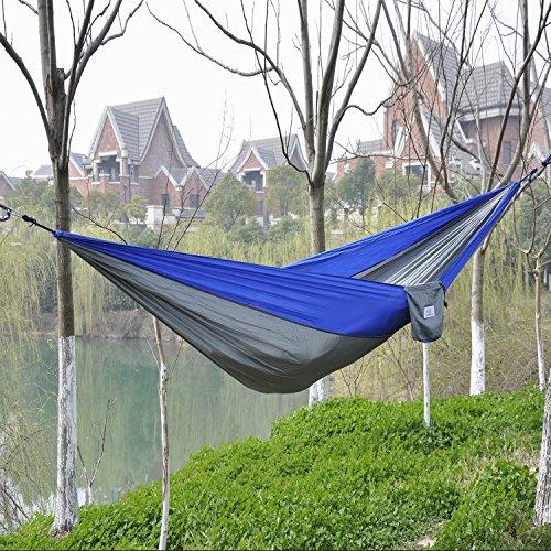 ... Portable Parachute Nylon Fabric Travel Camping Hammock Blue/grey New