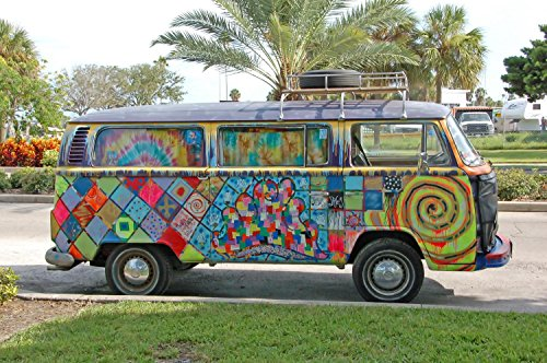 Wallmonkeys WM90126 Volkwagen Bus with Graffiti Peel and Stick Wall Decals (30 in W x 20 in H)