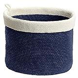 InterDesign Ellis Hand Knit Round Bin, Large, Navy/Ivory