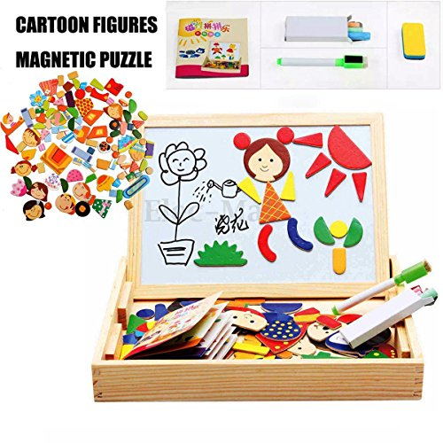 [Drawing Writing Board Magnetic Puzzle Double Easel Kid Wooden Toy Sketchpad Gift] (Weed Dealer Costume)