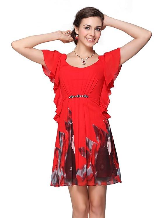 Ever Pretty Floral Print Chiffon Rhinestones Casual Dress Short Cocktail Dress 03661