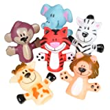 Rhode Island Novelty Zoo Animal Finger Puppets 1-Dozen (Color: Multi-colored, Tamaño: Standard Size)