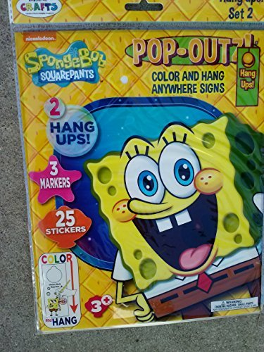 SpongeBob SquarePants Pop-Outz! Color & Hang Anywhere Signs Hang ups (Assorted, Styles & Quantities Vary)
