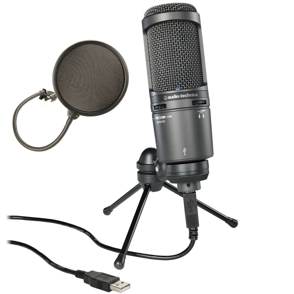Audio-Technica AT2020USB PLUS Cardioid Condenser USB Microphone Bundle with Pop Filter