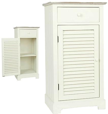 Clayre & Eef 5H0092 armario de madera con cajón blanco aprox 45 x 35 x 85 cm