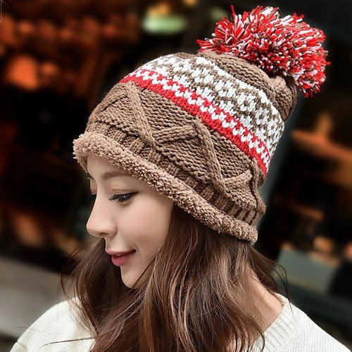 カラフルぽんぽん付き ノルディック柄 ニット帽 ケーブル編み ニットキャップ レディース 帽子 ぼうし 秋冬