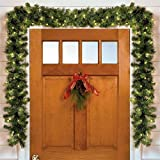 Brylanehome Cordless Battery-Operated Led 9' Pine Garland (Green - 0)