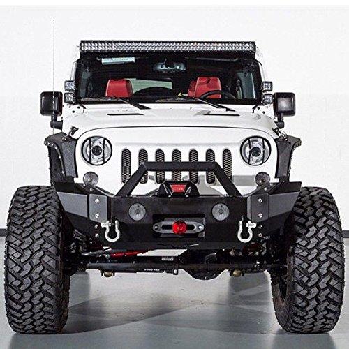 GSI-07-16-Jeep-Wrangler-JK-Black-Textured-Heavy-Duty-Rock-Crawler-Front-Bumper-w-OE-Fog-Lights-Hole-2x-D-Ring-Winch-Plate