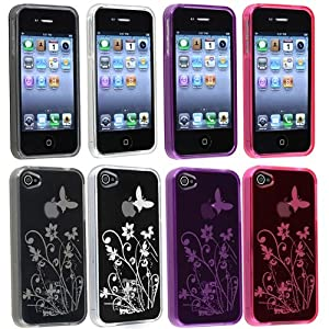 eForCity 4x Color Clear Flower Butterfly Rubber Gel TPU Case Cover for iPhone® 4 4S 4G