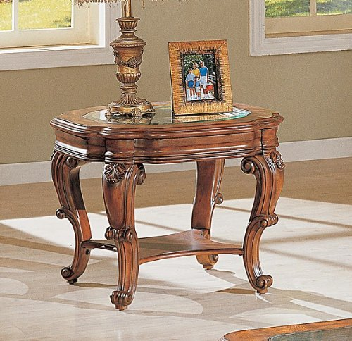 Cheap French Provincial Brown Occasional End Table w/Glass Top (VF_700517)