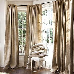 Burlap Drape Panel Set of 2 Backdrop 100% jute 8 Ft curtain 96
