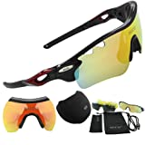 DUCO POLARIZED Sports Sunglasses UV400 Protection Cycling Glasses With 5 Interchangeable Lenses for Cycling, Baseball ,Fishing, Ski Running ,Golf 0025