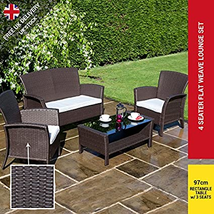 RATTAN GARDEN FURNITURE SET 4 SEAT SOFA CHAIRS TABLE OUTDOOR CONSERVATORY WICKER