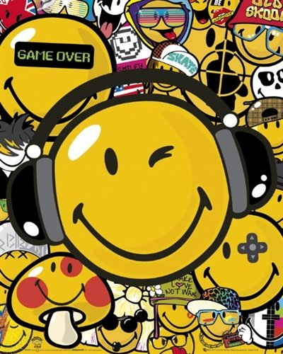 Smiley Headphones Video Game Pop Art Poster 19.5 x 15.5 inches
