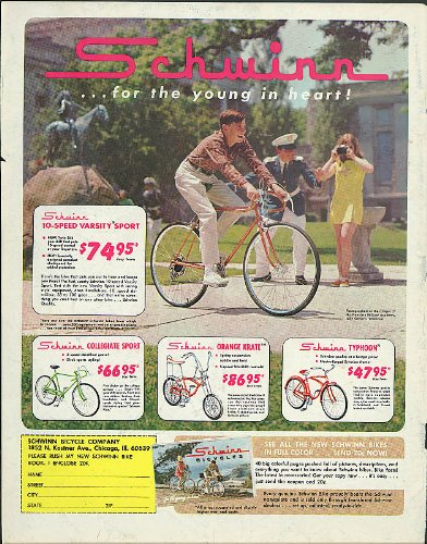 Schwinn for young in heart Varsity Sport Collegiate Oraneg Krate Typhoon ad 1968
