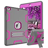 TOPSKY iPad Air Case, iPad A1474/A1475/A1476 Kids Proof Case, Heavy Duty Shockproof Rugged Armor Defender Kickstand Protective Cover Case for iPad Air Grey Pink (Color: Grey Pink, Tamaño: iPad Air Case (2013 Model))