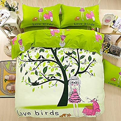 TheFit Paisley Bedding for Adult U134 Green Love Birds and Girl Duvet Cover Set 100% Cotton, Queen Set, 4 Pieces