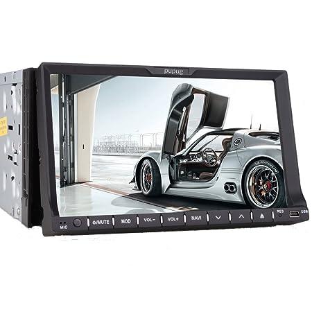 Pupug Audio PG2NA2 In-Dash Double-Din 7-pouces šŠcran tactile motorisšŠ de voiture Video CD / DVD / USB / SD / MP4 / MP3 joueur ršŠcepteur Bluetooth en streaming mains-libres Bluetooth avec tšŠl&scar