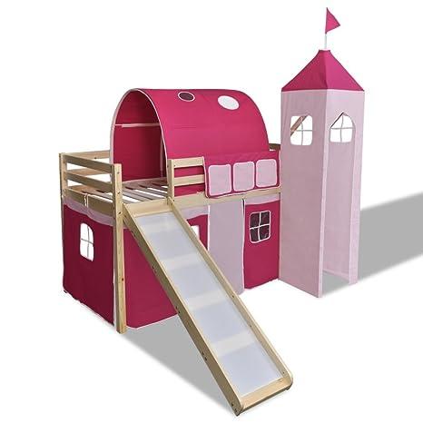 Cama de Dos Pisos Con Escalera y Tobogán Princesa Rosa Castillo-Temática Color Natural