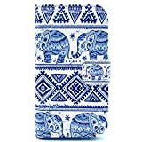 Casea Packing Blue Tribal Elephant PU Leather Wallet Case for Samsung Galaxy Ace 4