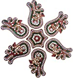 Just Crafts 7 Piece Wooden Rangoli With Kundan Work (30 cm x 30 cm x 0.5 cm)