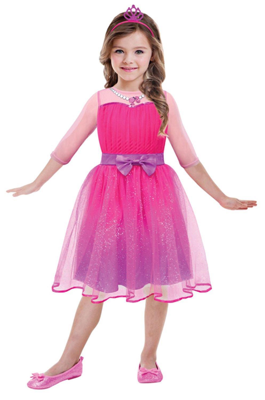 Amscan 999548 – Kinderkostüm Barbie Prinzessin, circa 3 – 5 Jahre, Größe 104, pink als Geschenk