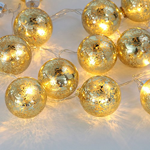 Set of of 20 Gold Speckled Mercury Glass Decorative Globe Battery String Lights with Warm White LEDS, 20 Total Lumens, Timer Option, Batteries Included