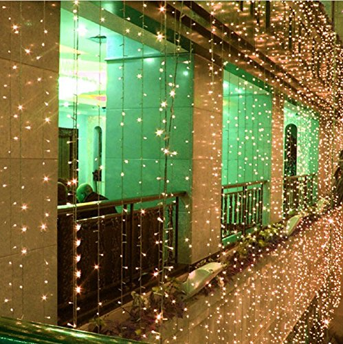 AMARS 3M*3M 300 LED Wedding Window Lights Curtain String Fairy Lights Outdoor 110V 8 Modes Background/Wall Lights for Christmas XMAS Party Home Festival Decoration Lighting (Warm White)