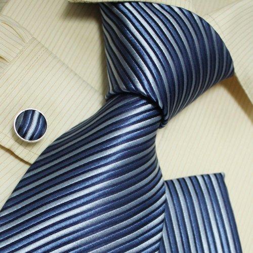 Blue striped tie for men stripes handmade discount silk ties cuff links handkerchief set H5015