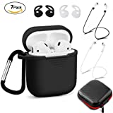 Airpods Case Protective Silicone Cover - Aeifond 7 In 1 Waterproof Airpods Accessories Kits with Airpods Ear Hook Airpods Anti-lost Staps Airpods Clips Skin Tips Grips for Apple Airpods (Black)