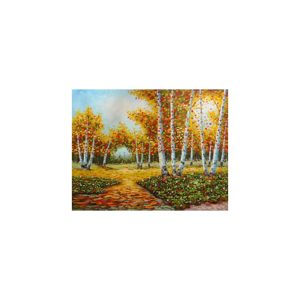 Path in Autumn Red Aspen Forest 36x48 Inch