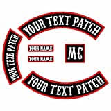 6 Pack Custom Embroidered MC Biker Patches, Personalized Embroidery Rocker Patch Rider Motorcycle Patches Back Name Patch Appliqued/Iron-on/Sew-on Veterans Jacket (Black Fabric+White Text+Red Border) (Color: Black Fabric+White Text+Red Border)
