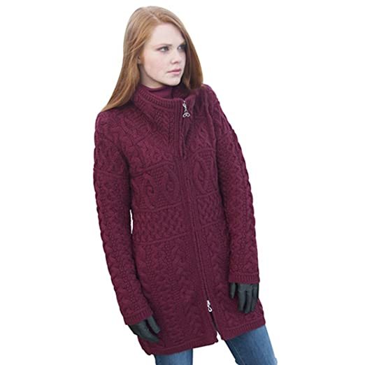 100% Irish Merino Wool Double Collar Aran Knit Coat