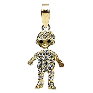 18k gold pendant child zircons [4969]