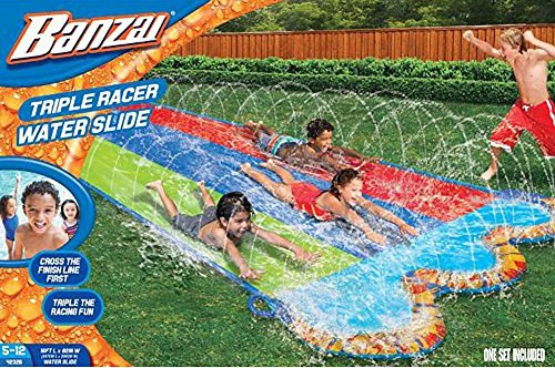 Find Bargain Banzai 16 ft. Triple Racer Water Slide with Giant Water-Spraying Rails