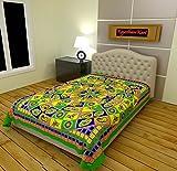 RajasthaniKart 100% Cotton Single Bedsheet (Green)