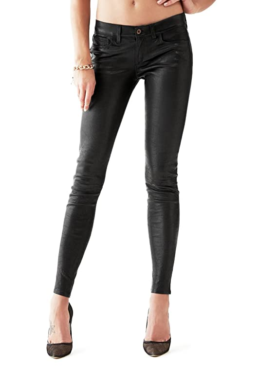 GUESS Women's Low-Rise Power Skinny Leather Pants