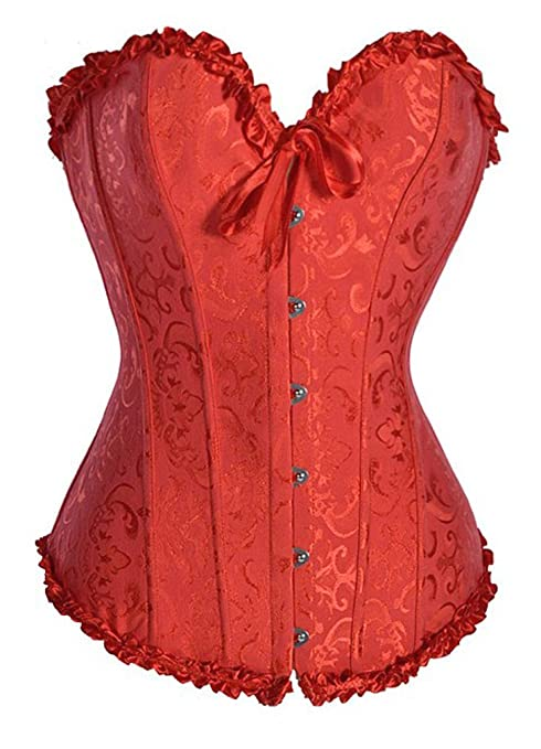 Camellias Sweetheart Overbust Satin Lace Boned Corset Bustier w. G-string, 1070-Red-S