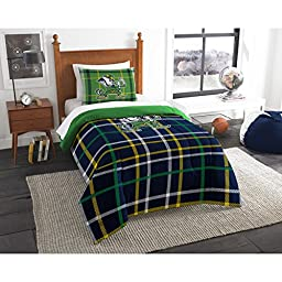 2 Piece NCAA Indiana Notre Dame Twin Comforter Set, Blue Green, Sports Patterned Bedding, Featuring Team Logo, Notre Dame Merchandise, Team Spirit, College Football Themed, Polyester Material