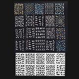 Anself 30 Blatt Nagel Kunst Sticker 3D verschidenen Farben Blumenmuster Nail Art Sticker AufkleberAbziehbilder Manicure Schöne Mode Accessoires Dekoration schwarz