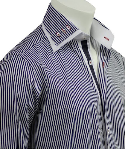 Italian Design Double Collar Men's Formal Casual Shirts Navy Strips Slim Fit