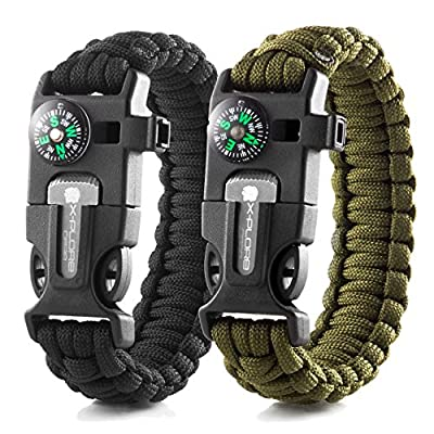 X-Plore Gear Emergency Paracord Bracelets | Set Of 2| The ULTIMATE Tactical Survival Gear| Flint Fire Starter, Whistle, Compass & Scraper/Knife| BEST Wilderness Survival-Kit For Camping/Fishing & More by Laza Products