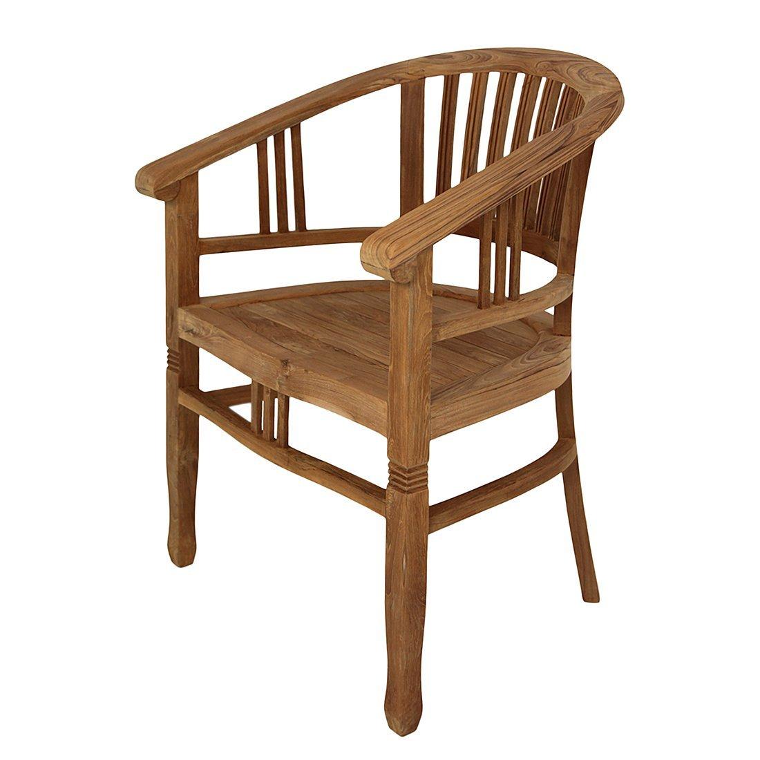 myteak24 Armchair CANTIK natur, unbehandelt, Gartenstuhl, Teakstuhl massiv Stuhl mit Armlehne, Teak, IVEY