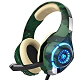 Gaming Headset for PS4 Xbox on PC, Beexcellent Stereo Sound Headphones with Noise Reduction Mic and LED Light (Camo) (Color: Camo, Tamaño: Camo)