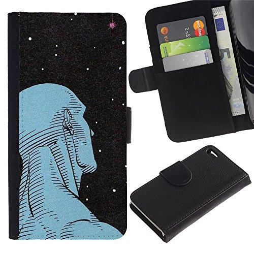 ZCell / Apple Iphone 4 / 4S / Man Art Deco Stars Wonder Deep Ufo / Wallet Custodia Portafoglio Snello Caso Case Cover Armor / L'uomo Art Dec