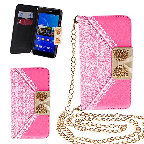 Xtra-Funky Exclusive Pu Leather Lace Pattern & Golden Bow Flip Case Cover Purse Handbag With Credit Card And Money Slots & Detachable Golden Chain For Sony Xperia Z3 - Pink