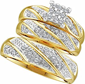 Men's Ladies 10K Yellow Gold 0.27 Ct. Round Diamond Engagement Ring Wedding Band Bridal Trio Set from Rodeo Jewels Co