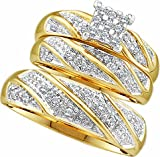 Men's Ladies 10k Yellow and White Gold .3 Ct Round Cut Diamond His Her Engagement Wedding Bridal Ring Set (ladies size 7, men size 10; message us for more sizes)